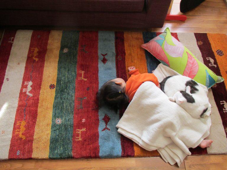 ギャッベの上で子供が寝ている写真