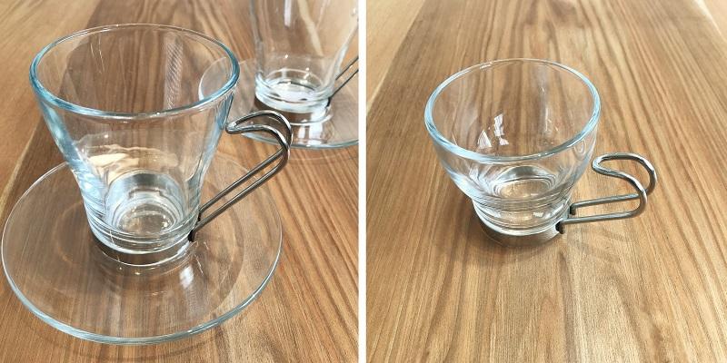 耐熱ガラス デュラレックスのカップアンドソーサーと デミタスカップ