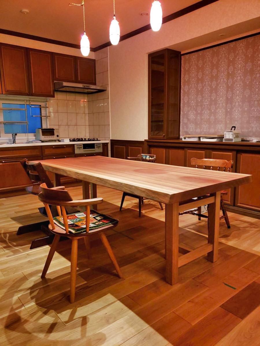 サペリ 一枚板 テーブル チェア 新潟 家具