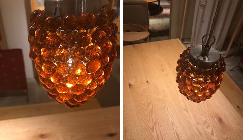 葡萄の形をしたガラスのペンダントライト
