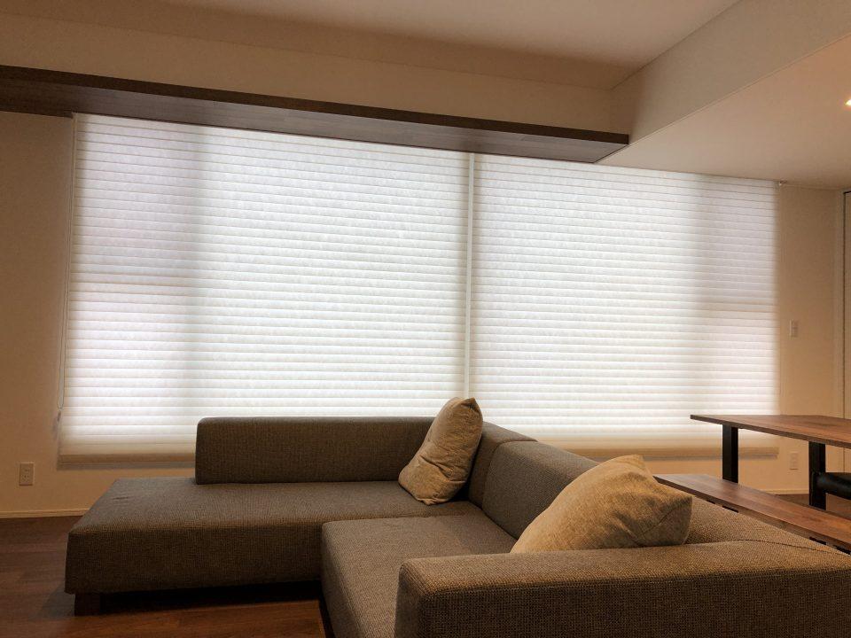 新潟市のご新築のリビングに調光ロールスクリーンというカーテンを納品致しました