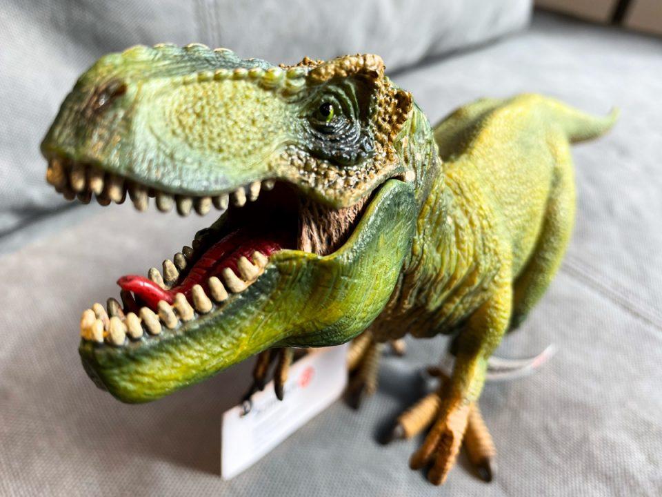 恐竜が口を開けた様子