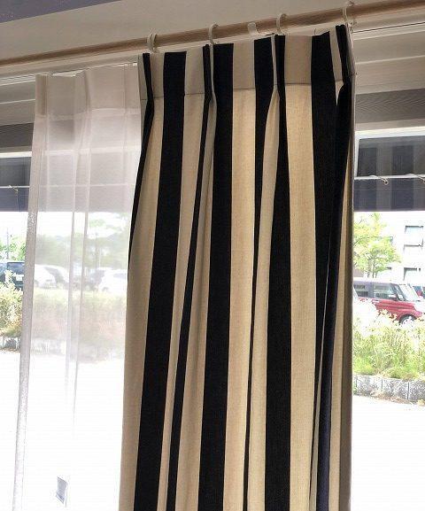 デニム生地のオーダーカーテンを新潟市のカーテンショップボー・デコールで展示しております
