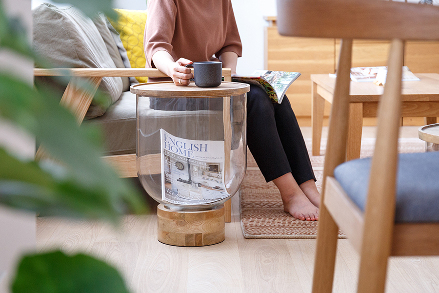マンゴーガラステーブル サイドテーブル