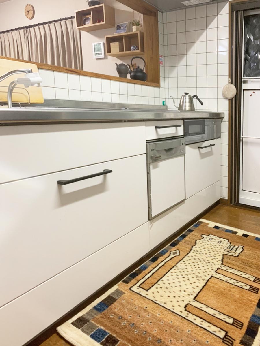 キッチンにギャッベ