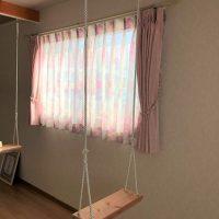 寝室にピンクのオーダーカーテンを納品いたしました